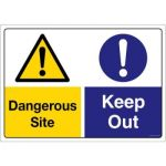 Safety Sign Store CW207-A2V-01 Caution: Dangerous Site Keep Out Sign Board