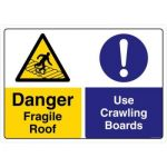 Safety Sign Store CW208-A3PC-01 Danger: Fragile Roof Use Crawling Boards Sign Board