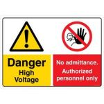 Safety Sign Store CW308-A3AL-01 Danger: High Voltage No Admittance Sign Board