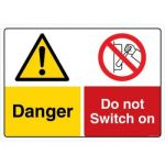Safety Sign Store CW310-A3AL-01 Danger: Do Not Swith On Sign Board