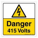 Safety Sign Store CW311-105V-01 Danger: 415 Volts Sign Board