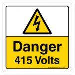 Safety Sign Store CW311-210AL-01 Danger: 415 Volts Sign Board
