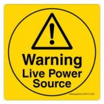 Safety Sign Store CW315-105V-01 Warning: Live Power Source Sign Board