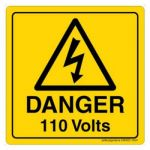 Safety Sign Store CW323-105AL-01 Danger: 110 Volts Sign Board