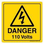 Safety Sign Store CW323-105V-01 Danger: 110 Volts Sign Board