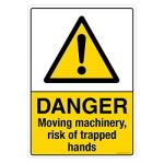 Safety Sign Store CW417-A3V-01 Danger: Moving Machinery Risk Of Trapped Hands Sign Board