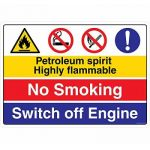Safety Sign Store CW423-A2AL-01 Petroleum Sprit Highly Flammable No Smoking Switch Of Engine Sign Board