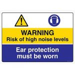 Safety Sign Store CW428-A2PC-01 Warning: Noise Hazard Ear Protection Must Be Worn Sign Board