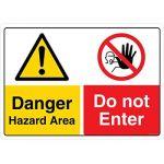 Safety Sign Store CW435-A3V-01 Danger: Hazard Area Do Not Enter Sign Board