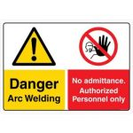 Safety Sign Store CW441-A2AL-01 Danger: Arc Welding No Admittance Sign Board
