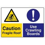 Safety Sign Store CW442-A2V-01 Caution: Fragile Roof Use Crawling Boards Sign Board