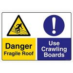 Safety Sign Store CW443-A3V-01 Danger: Fragile Roof Use Crawling Boards Sign Board