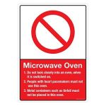 Safety Sign Store CW611-A3V-01 Microwave Oven Sign Board