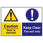 Safety Sign Store CW628-A3AL-01 Caution: Door Is Alarmed Keep Clear Sign Board