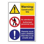 Safety Sign Store CW713-A3V-01 Warning: Construction Site Sign Board