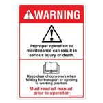 Safety Sign Store DS101-A6V-01 Warning: Read Manual Sign Board