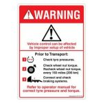 Safety Sign Store DS105-A6PC-01 Warning: Check Prior To Transport Sign Board