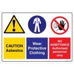 Safety Sign Store DS111-A3V-01 Caution: Asbestos No Admittance Sign Board