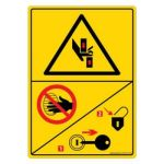Safety Sign Store DS416-A6V-01 Warning: Crushing Hazard-Cutouts - Graphic Sign Board