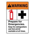 Safety Sign Store FS101-A4PC-01 Warning: Prepare For Emergencies Sign Board