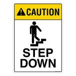 Safety Sign Store FS103-A3AL-01 Caution: Step Down Sign Board