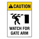 Safety Sign Store FS110-A4V-01 Caution: Watch For Gate Arm Sign Board