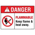 Safety Sign Store FS117-A4AL-01 Danger: Flammable Sign Board