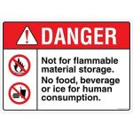 Safety Sign Store FS118-A4AL-01 Danger: Not For Flammable Material Storage Sign Board