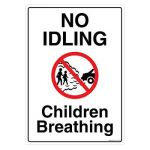 Safety Sign Store FS122-A4PC-01 No Idling Children Breathing Sign Board