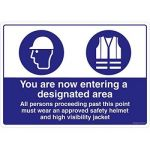 Safety Sign Store FS628-A3V-01 You Are Entering A Designated Area Sign Board