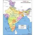 Asian Maps of India, Gloss, Size 70 x 100cm