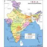 Asian Maps of India, Matt, Size 70 x 100cm