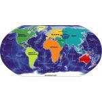 Asian Maps of Continents, Gloss, Size 70 x 100cm