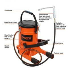 Groz FOP/10A Foot Operated Grease Pump, Output 2gm/stroke, Capacity 10kg, Pressure 8700PSI