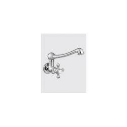 Sink Cock Wall Mounted with Casted Swivel Spout & Wall Flange