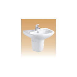 White Wall Hung Half Pedestal Basin - Musile - 545x490x520 mm