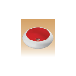 White/Red Art Basin Colored - Iris - 490x490x130 mm