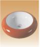 Red/White Art Basin Colored-  Gerbera - 490x490x140 mm